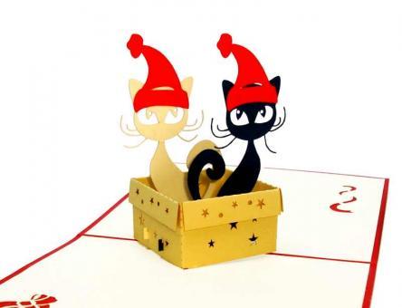 PapierArt | Katzen kuschelige Weihnacht | 3d Pop up Karten